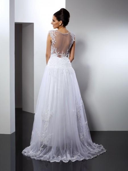 A-Line/Princess Sleeveless Applique Court Train Straps Lace Wedding Dresses