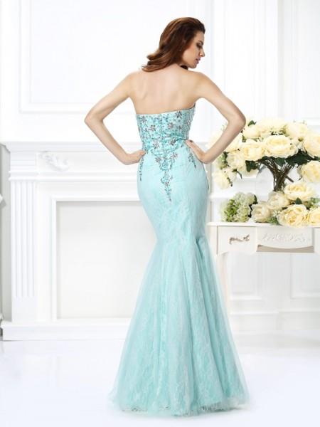 Trumpet/Mermaid Sleeveless Beading Lace Floor-Length Sweetheart Net Dresses
