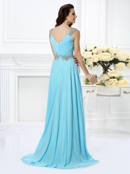 A-Line/Princess Sleeveless Beading Floor-Length V-neck Chiffon Dresses