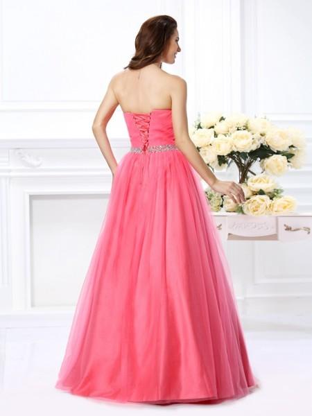 Ball Gown Sleeveless Pleats Beading Floor-Length Sweetheart Satin Dresses