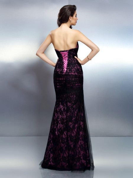 Trumpet/Mermaid Sleeveless Lace Floor-Length Sweetheart Elastic Woven Satin Dresses