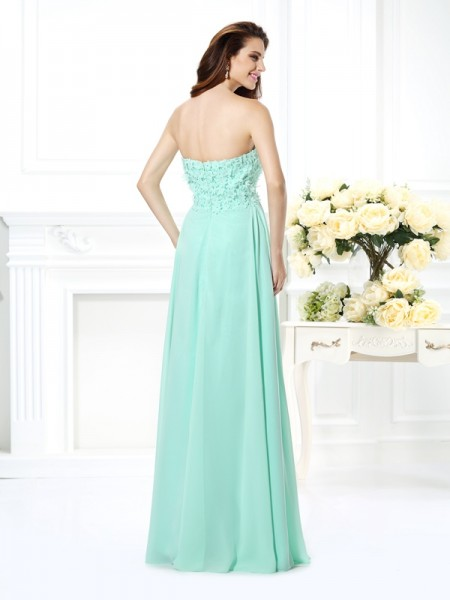 A-Line/Princess Sleeveless Floor-Length Sweetheart Chiffon Dresses