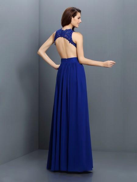 A-Line/Princess Sleeveless Applique Floor-Length V-neck Chiffon Bridesmaid Dresses