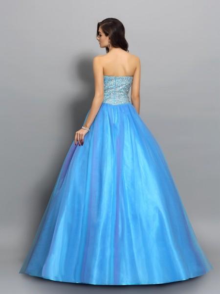 Ball Gown Sleeveless Beading Floor-Length Sweetheart Elastic Woven Satin Dresses