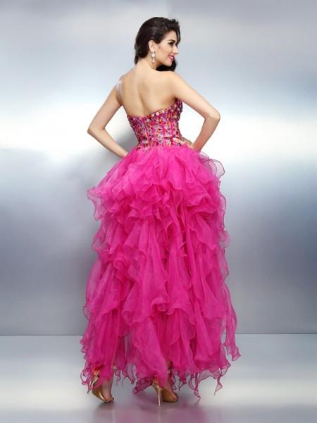 A-Line/Princess Sleeveless Rhinestone Asymmetrical Sweetheart Organza Cocktail Dresses