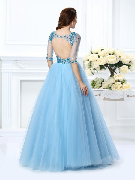 Ball Gown 1/2 Sleeves Beading Floor-Length V-neck Satin Dresses