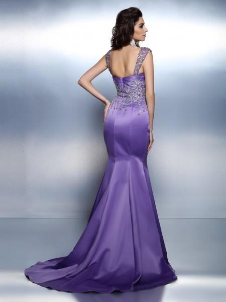 Trumpet/Mermaid Sleeveless Beading Sweep/Brush Train Sweetheart Straps Satin Dresses