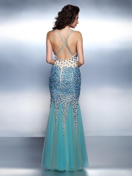 Trumpet/Mermaid Sleeveless Rhinestone Floor-Length Spaghetti Straps Satin Dresses