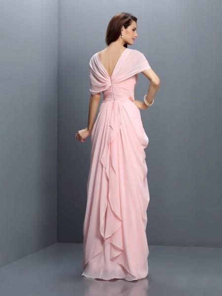 A-Line/Princess Short Sleeves Pleats Floor-Length Sweetheart Chiffon Bridesmaid Dresses