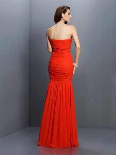 Trumpet/Mermaid Sleeveless Pleats Floor-Length Sweetheart Chiffon Bridesmaid Dresses