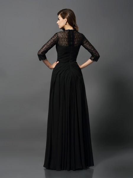 A-Line/Princess 3/4 Sleeves Floor-Length Bateau Lace Dresses