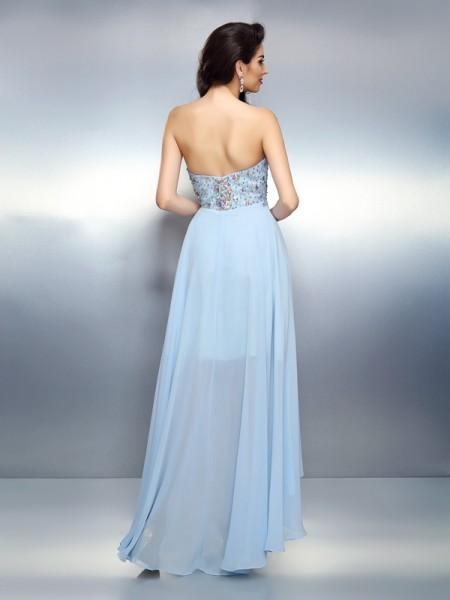 A-Line/Princess Sleeveless Ruffles Asymmetrical Sweetheart Chiffon Cocktail Dresses