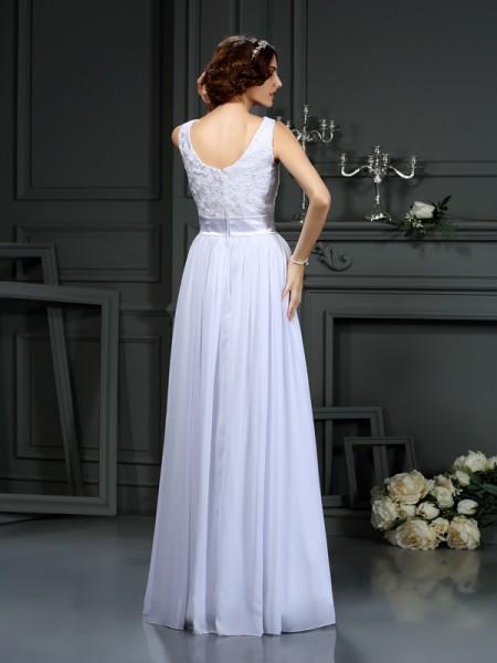 A-Line/Princess Sleeveless Lace Floor-Length Scoop Chiffon Wedding Dresses