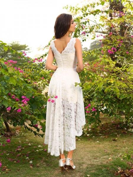 A-Line/Princess Sleeveless Lace Asymmetrical V-neck Lace Bridesmaid Dresses