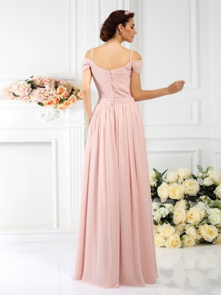 A-Line/Princess Sleeveless Pleats Hand-Made Flower Floor-Length Spaghetti Straps Chiffon Bridesmaid Dresses