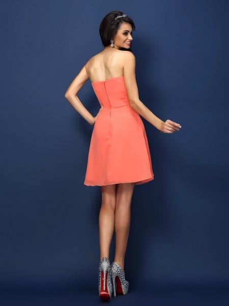 A-Line/Princess Sleeveless Beading Short/Mini Sweetheart Chiffon Bridesmaid Dresses