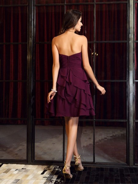 A-Line/Princess Sleeveless Ruched Short/Mini Sweetheart Chiffon Bridesmaid Dresses
