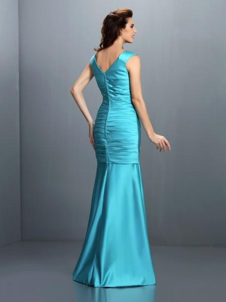 A-Line/Princess Sleeveless Pleats Floor-Length V-neck Satin Bridesmaid Dresses