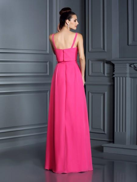A-Line/Princess Sleeveless Floor-Length Spaghetti Straps Chiffon Bridesmaid Dresses