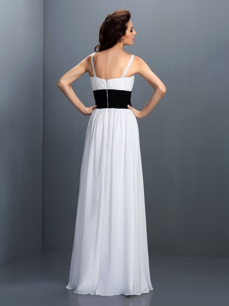 A-Line/Princess Sleeveless Sash/Ribbon/Belt Floor-Length V-neck Chiffon Bridesmaid Dresses