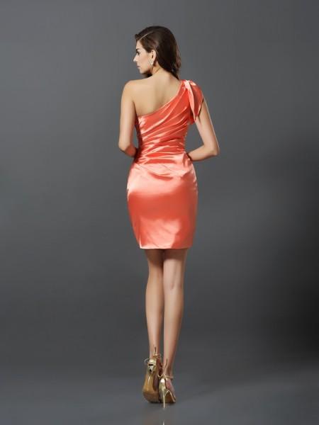 Sheath/Column Sleeveless Pleats Short/Mini One-Shoulder Elastic Woven Satin Bridesmaid Dresses