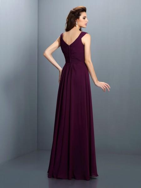 A-Line/Princess Sleeveless Pleats Beading Floor-Length V-neck Chiffon Bridesmaid Dresses