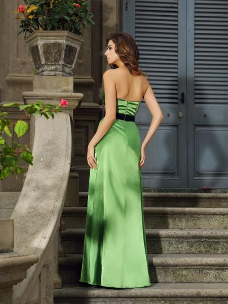 A-Line/Princess Sleeveless Floor-Length Sweetheart Silk like Satin Bridesmaid Dresses