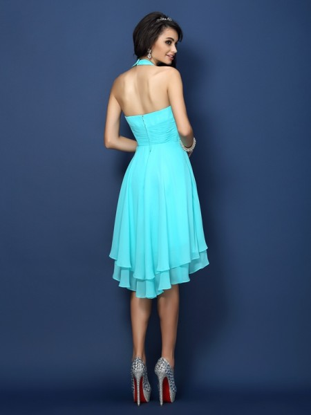 A-Line/Princess Sleeveless Pleats Short/Mini Halter Chiffon Bridesmaid Dresses