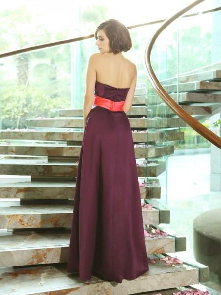 A-Line/Princess Sleeveless Floor-Length Sweetheart Satin Bridesmaid Dresses