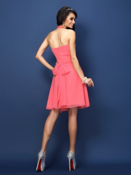 A-Line/Princess Sleeveless Pleats Bowknot Short/Mini Halter Chiffon Bridesmaid Dresses