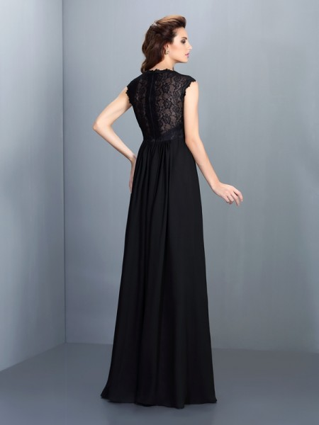 A-Line/Princess Sleeveless Lace Floor-Length Scoop Chiffon Bridesmaid Dresses