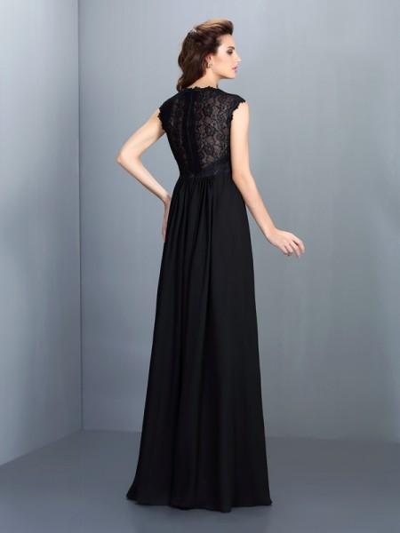 A-Line/Princess Sleeveless Lace Floor-Length Scoop Chiffon Bridesmaid Dresses