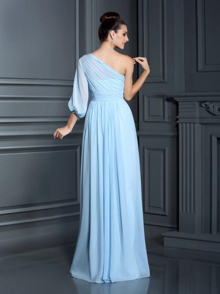 Sheath/Column 3/4 Sleeves Floor-Length One-Shoulder Chiffon Bridesmaid Dresses