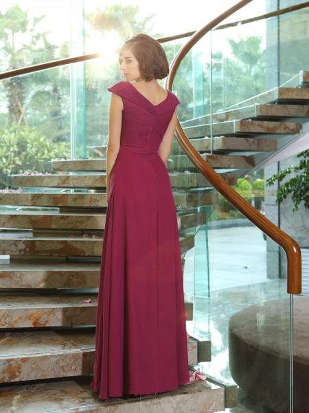 A-Line/Princess Sleeveless Floor-Length V-neck Chiffon Bridesmaid Dresses