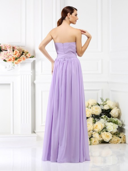 A-Line/Princess Sleeveless Sash/Ribbon/Belt Floor-Length Strapless Chiffon Bridesmaid Dresses