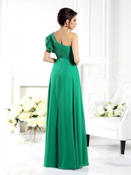 A-Line/Princess Sleeveless Ruffles Floor-Length One-Shoulder Chiffon Bridesmaid Dresses