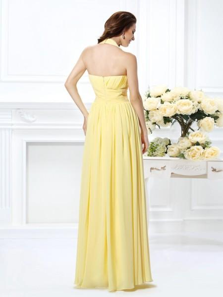 A-Line/Princess Sleeveless Pleats Floor-Length Halter Chiffon Dresses