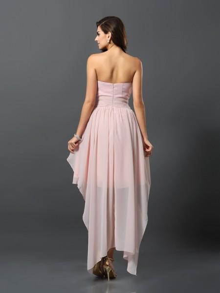 A-Line/Princess Sleeveless Pleats Asymmetrical Sweetheart Chiffon Bridesmaid Dresses