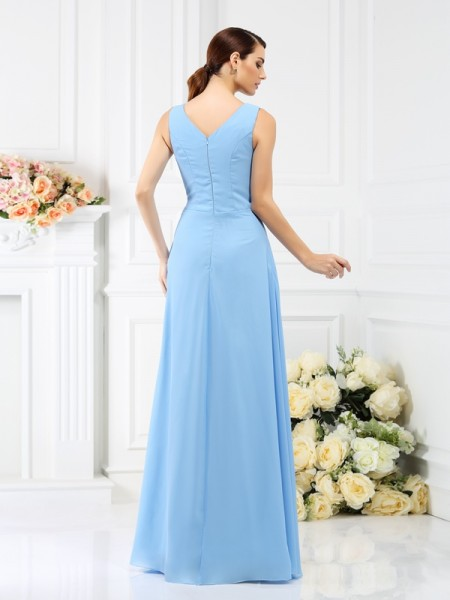 Sheath/Column Sleeveless Beading Floor-Length V-neck Chiffon Bridesmaid Dresses