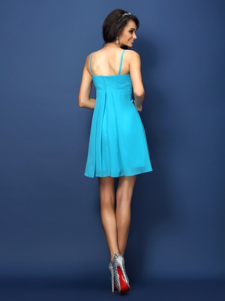 A-Line/Princess Sleeveless Pleats Short/Mini Spaghetti Straps Chiffon Bridesmaid Dresses