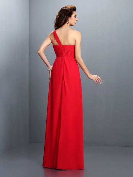 A-Line/Princess Sleeveless Pleats Hand-Made Flower Floor-Length One-Shoulder Chiffon Bridesmaid Dresses