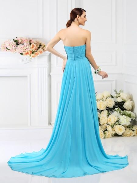 A-Line/Princess Sleeveless Pleats Beading Sweep/Brush Train Sweetheart Chiffon Bridesmaid Dresses
