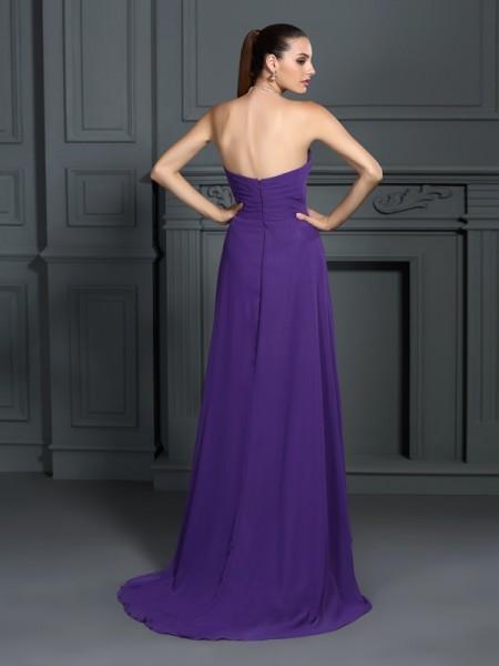 A-Line/Princess Sleeveless Pleats Asymmetrical Strapless Chiffon Cocktail Dresses