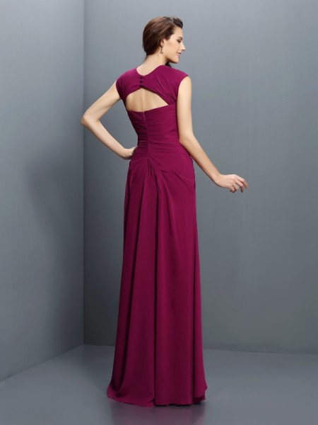 A-Line/Princess Sleeveless Pleats Floor-Length Straps Chiffon Bridesmaid Dresses