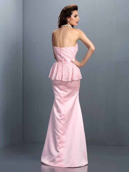 Trumpet/Mermaid Sleeveless Lace Floor-Length Sweetheart Satin Bridesmaid Dresses