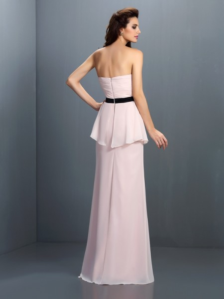 Sheath/Column Sleeveless Sash/Ribbon/Belt Floor-Length Sweetheart Chiffon Bridesmaid Dresses