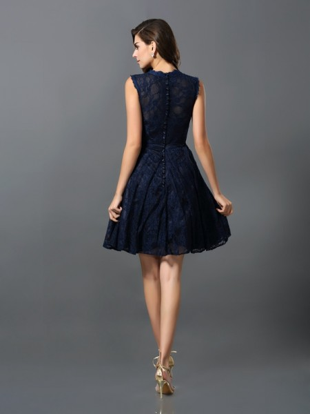 A-Line/Princess Sleeveless Lace Short/Mini V-neck Satin Bridesmaid Dresses