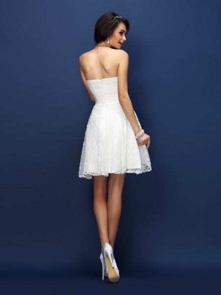 A-Line/Princess Sleeveless Pleats Lace Short/Mini Sweetheart Satin Bridesmaid Dresses