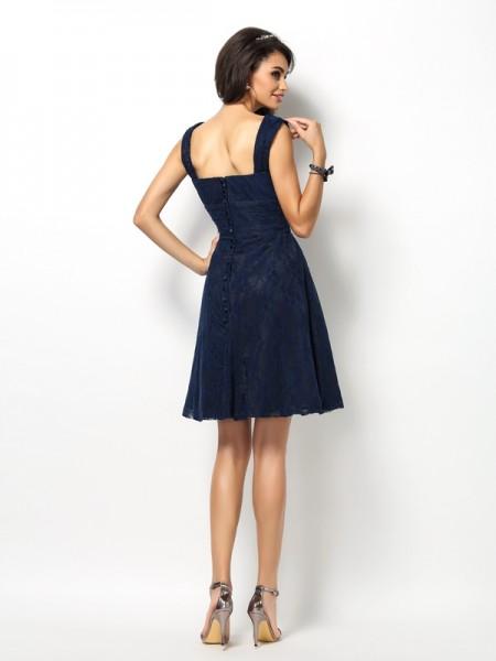 A-Line/Princess Sleeveless Lace Short/Mini Straps Satin Bridesmaid Dresses