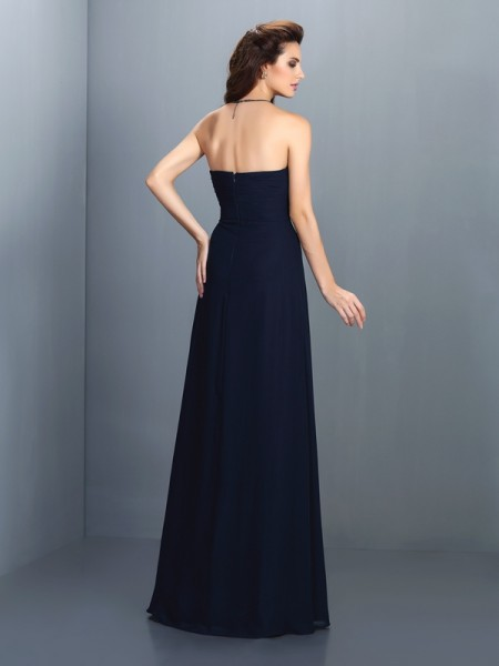 A-Line/Princess Sleeveless Rhinestone Floor-Length Strapless Chiffon Bridesmaid Dresses